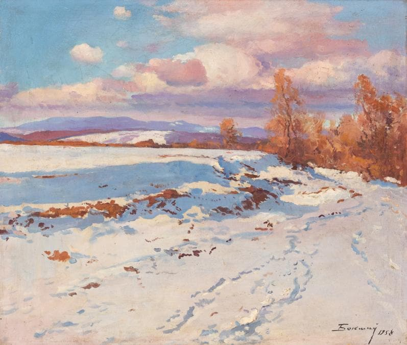 Lotto 24Josif Josifovich Bokshay (Kobyletska Poliana, 1891 - Uzhgorod, 1975)Paesaggio invernale, 1958 Olio su tela, cm 77X90Stima € 3.000 – 3.500Aggiudicato a € 7.600