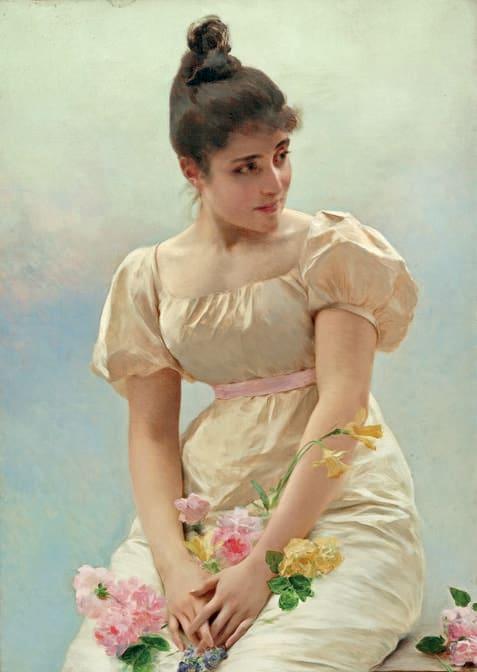 Lotto 321 Federico Andreotti 1847-1930 Fanciulla con fiori Olio su tela.  61,5 x 42 cm Firmato al recto in basso a destra.  Provenienza Collezione privata, Milano. Stima € 15.000 Courtesy Aste Bolaffi