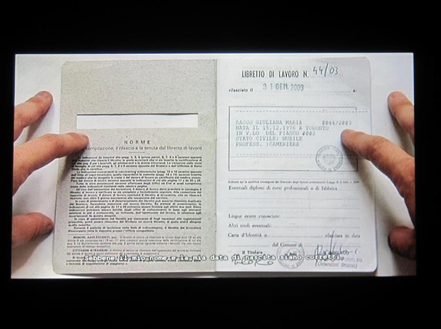Giuliana Racco, I miei anni invisibili, 2008, DV video, 4', CVs on A4 paper, UV lamp. Installation view. Courtesy l'artista