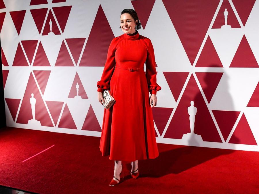 Olivia Coleman in Dior Haute Couture. (Alberto Pezzali/Pool via REUTERS)