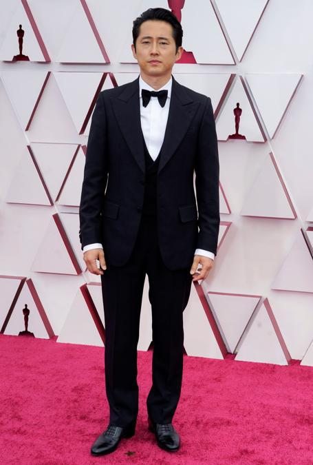 Steven Yeun in Gucci . (Chris Pizzello/Pool via REUTERS)