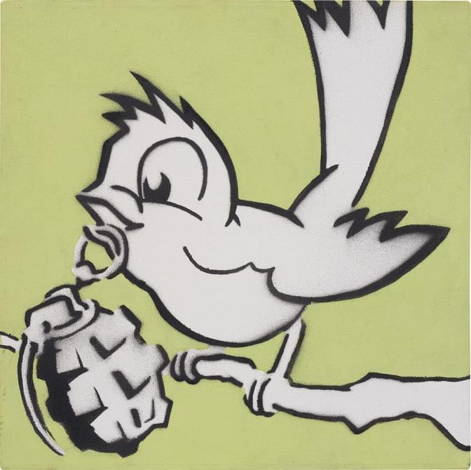 Banksy, Bird with Grenade, spray paint and acrylic on canvas, 30.3 x 30.4 cm (11 7/8 x 11 7/8 in.). Painted in 2005, this work is unique in this format and is accompanied by a certificate of authenticity issued by Pest Control. Estimate £50,000 - 70,000. SOLD FOR £327,600 (Courtesy: Phillips)