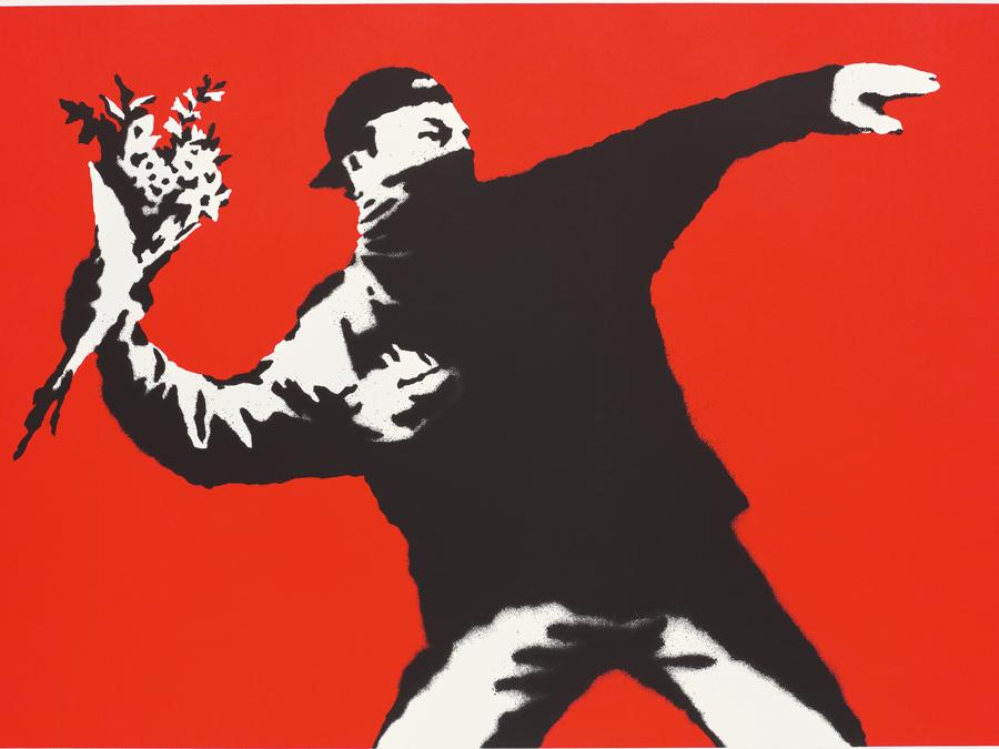 Banksy, Love is in the air, signed, stamped with the artist's name and numbered 'BANKSY AP/08 ©banksy' lower right screen print on paper, 50 x 70 cm (19 5/8 x 27 1/2 in.). Executed in 2003, this work is number 8 from 27 artist's proofs, aside from the edition of 500 of which only the first 50 are signed and is accompanied by a certificate of authenticity issued by Pest Control. Estimate £300,000 - 500,000. SOLD FOR £315,000 (Courtesy: Phillips)