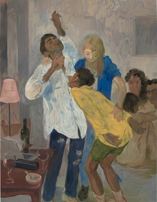 Salman Toor, Dancing to Whitney, signed and dated 'SalmanToor '18' on the reverse oil on panel, 40.9 x 30.7 cm (16 1/8 x 12 1/8 in.). Painted in 2018. Estimate £40,000 - 60,000. SOLD FOR £252,000 (Courtesy: Phillips)