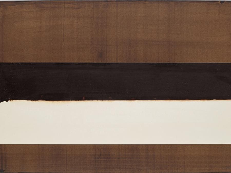 Pierre Soulages, Brou de noix sur papier, 75, 2 X 108 cm, 2004, signed 'Soulages' lower right walnut stain on paper mounted on linen, 75.2 x 108 cm (29 5/8 x 42 1/2 in.). Executed in 2004. Estimate £150,000 - 200,000. SOLD FOR £239,400 (Courtesy: Phillips)