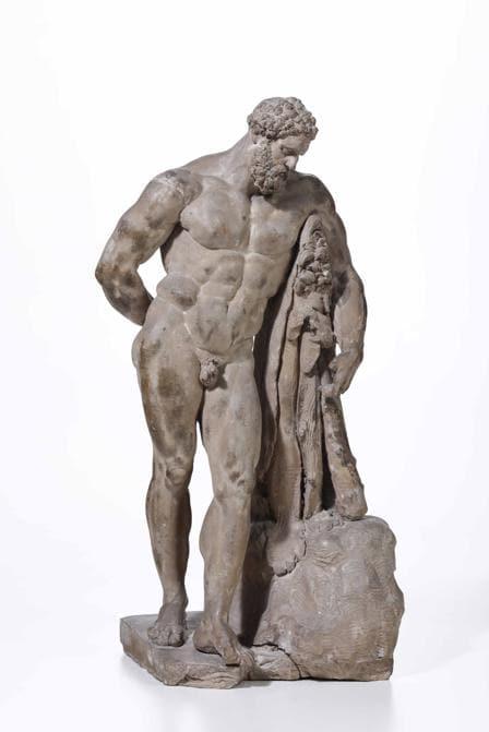 Ercole Farnese - Terracotta - Scultore del XVIII secolo - cm 22x20x47. - La bella composizione è ripresa dalla scultura ellenistica in marmo del III secolo D.C., rinvenuta nelle Terme di Caracalla a Roma nel 1546 e reintegrata dallo scultore Guglielmo Della Porta (1515-1577) ed in seguito ereditata da Carlo di Borbone nel 1787 e trasferita a Napoli dove fu sottoposta ad un secondo restauro ed è ora conservata nel Museo archeologico nazionale della città partenopea. - Stima: 1.500 - 2.000 - Venduto a: 50.000 - Courtesy Cambi