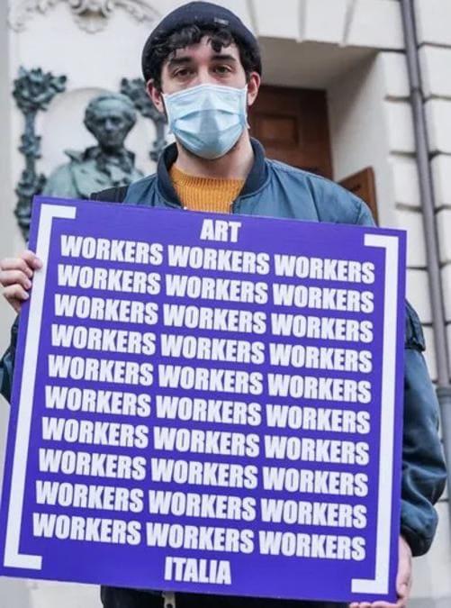 Art Workers Italia (AWI) in manifestazione a Torino, 23 febbraio 2021. Courtesy AWI