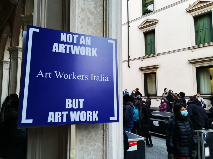 Art Workers Italia (AWI) in manifestazione a Padova, 23 febbraio 2021. Courtesy AWI