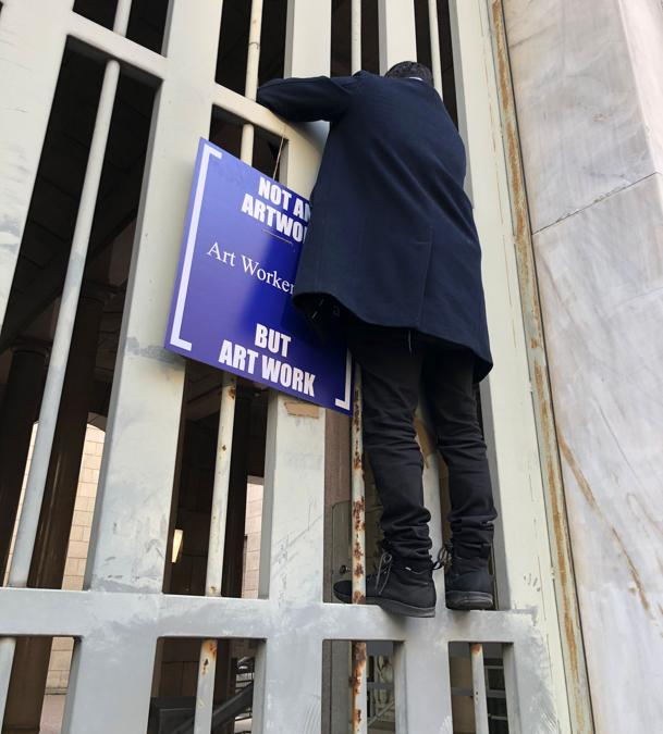 Art Workers Italia (AWI) in manifestazione a Milano, 23 febbraio 2021. Courtesy AWI
