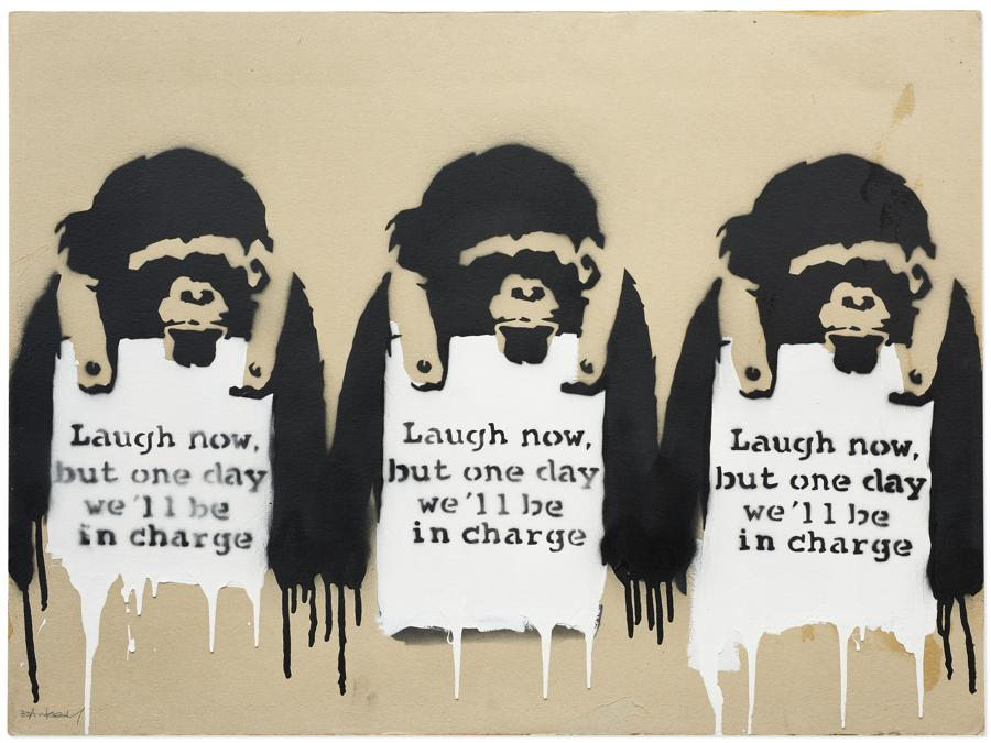 Lot 23A, Banksy, Laugh Now But One Day We'll Be In Charge (per gentile concessione di Christie's)