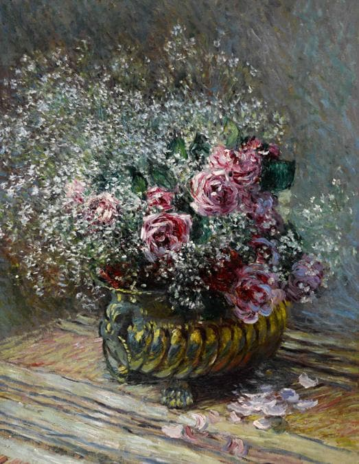 Claude Monet, Fleurs dans un pot (Roses et brouillard), stima 4-6 milioni di dollari, Courtesy Sotheby's