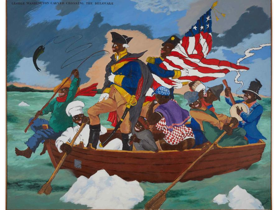 Robert Colescott, George Washington Carver Crossing the Delaware - Page from an American History Textbook, stima 9-12 milioni di dollari, Courtesy Sotheby's