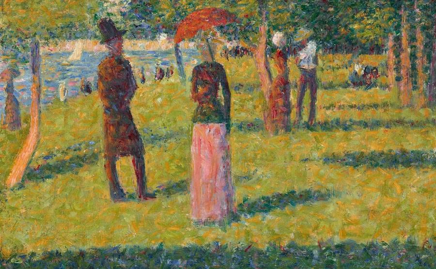 Georges Seurat, Paysage et personnages (La jupe rose), stima 6-8.000.000 dollari, Courtesy Christie's