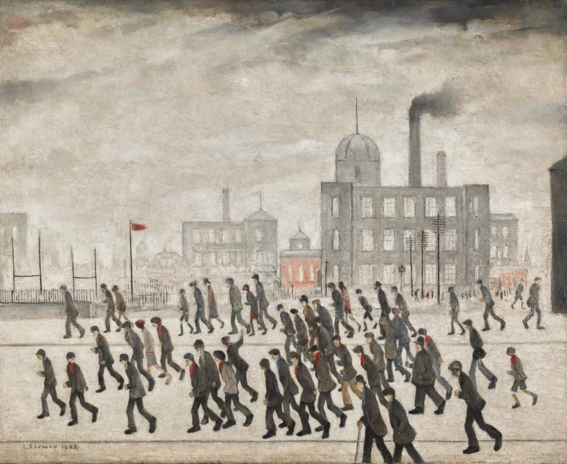 L.S. Lowry, Going to the Match, 1928, oil on canvas 17 by 21in. (est. £2,000,000-3,000,000)