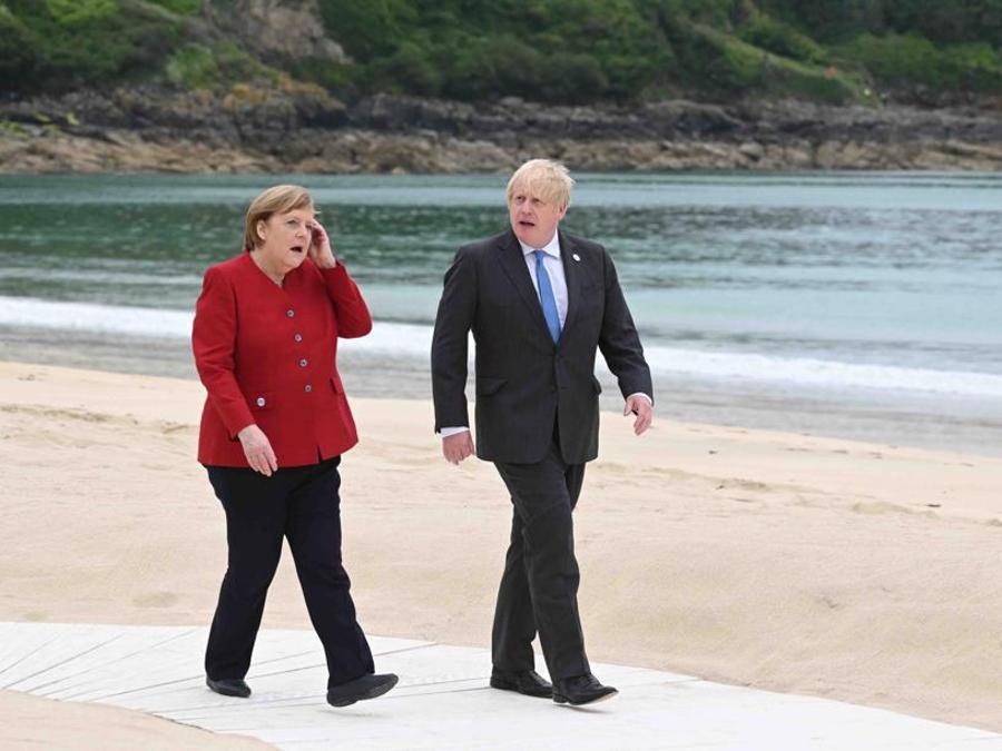 Angela Merkel con Boris Johnson