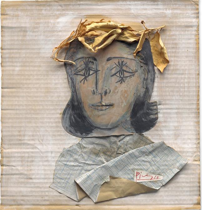 Pablo Picasso (1881-1973). Tête de femme, signé 'Picasso' (sur un élément de collage en bas à droite) collage, gouache et graphite sur carton 40 x 39 cm. Exécuté en 1941. Price realised : €3,620,000. © Succession Picasso