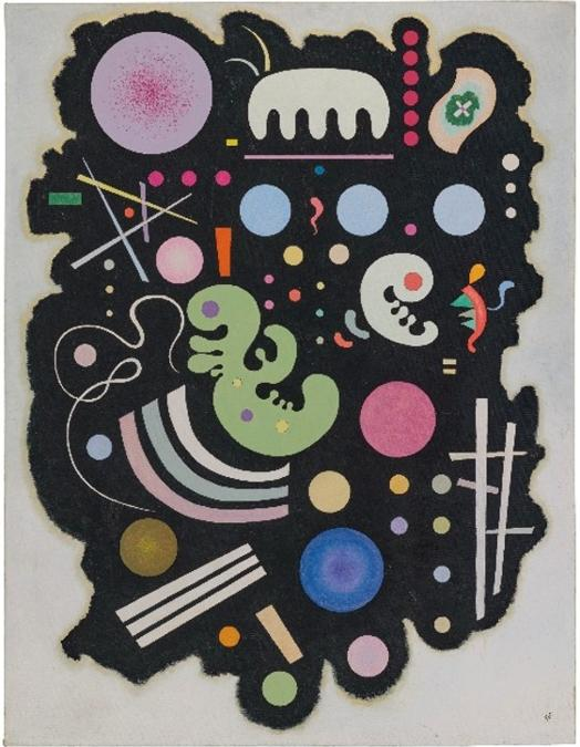 WASSILY KANDINSKY (1866-1944). Noir bigarré, signed with the monogram and dated '35' (lower left); signed again with the monogram, dated and numbered 'No. 620 1935' (on the reverse), oil on canvas, 45 ¾ x 35 in. (116.2 x 89 cm.). Painted in Paris in October 1935. Estimate GBP 8,000,000 - GBP 12,000,000