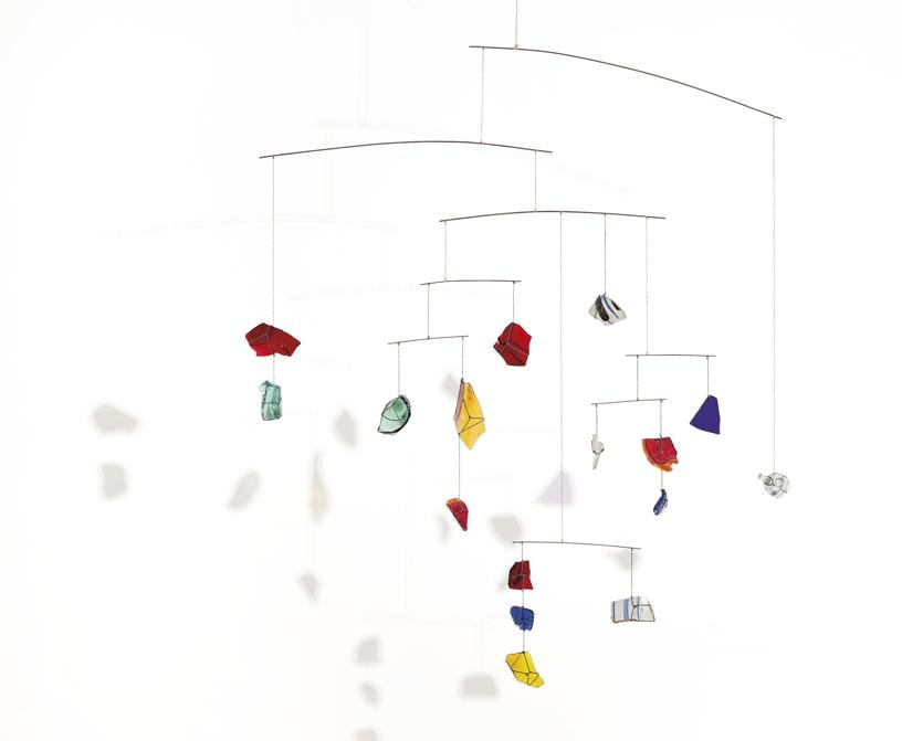 ALEXANDER CALDER (1898-1976). Untitled, hanging mobile - pottery shards, glass shards, Plexiglas, wire and string, 34 x 31 x 26in. (86.4 x 78.7 x 66cm.). Executed circa 1944. Estimate GBP 3,500,000 - GBP 5,500,000