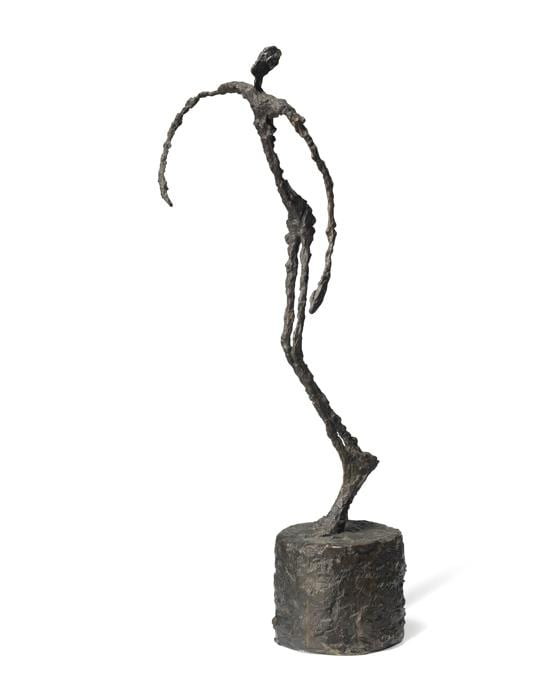 ALBERTO GIACOMETTI (1901-1966). Homme qui chavire, signed, numbered and stamped with the foundry mark 'A. Giacometti 6/6 Alexis. Rudier Fondeur. Paris' (on the base) bronze with dark brown patina. Height: 23 3/8 in. (59.5 cm.). Conceived in 1950; this example, cast by Alexis Rudier in 1951, is one of six recorded casts. Estimate GBP 12,000,000 - GBP 18,000,000