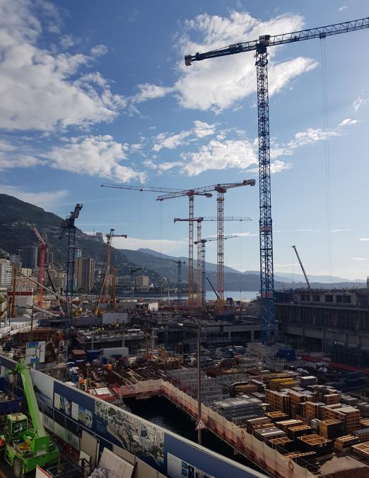 Vista del Cantiere del progetto Terramare, il nuovo quartiere in costruzione a Monte Carlo