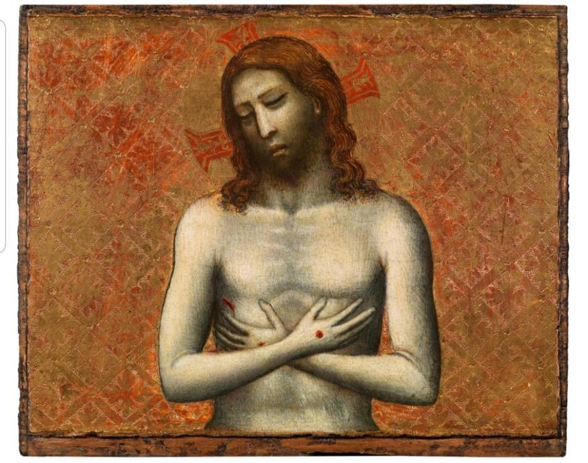 Giovanni Baronzio, attivo dal 1320 al 1350, Christ as the man of sorrow, tempera su tavola 15,6 x 19 cm, in vendita a 750.000 euro presso la galleria antiquaria Moretti