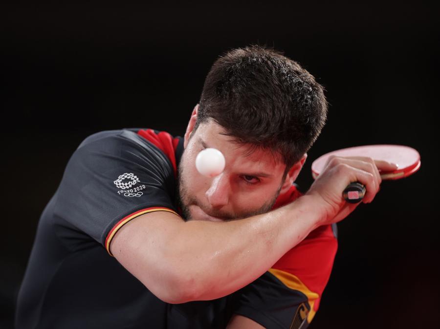 Tennis da tavola - semifinale singolo maschile - il tedesco Dimitrij Ovtcharov contro il cinese Ma Long (REUTERS/Hannah Mckay)