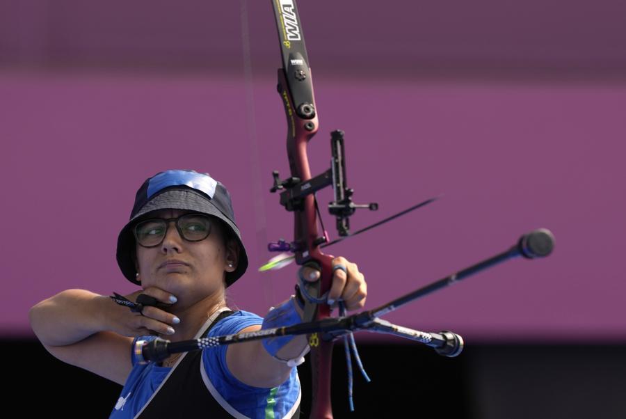 Tiro con l'Arco femminile individuale - L'italiana Chiara Rebagliati (AP Photo/Alessandra Tarantino)