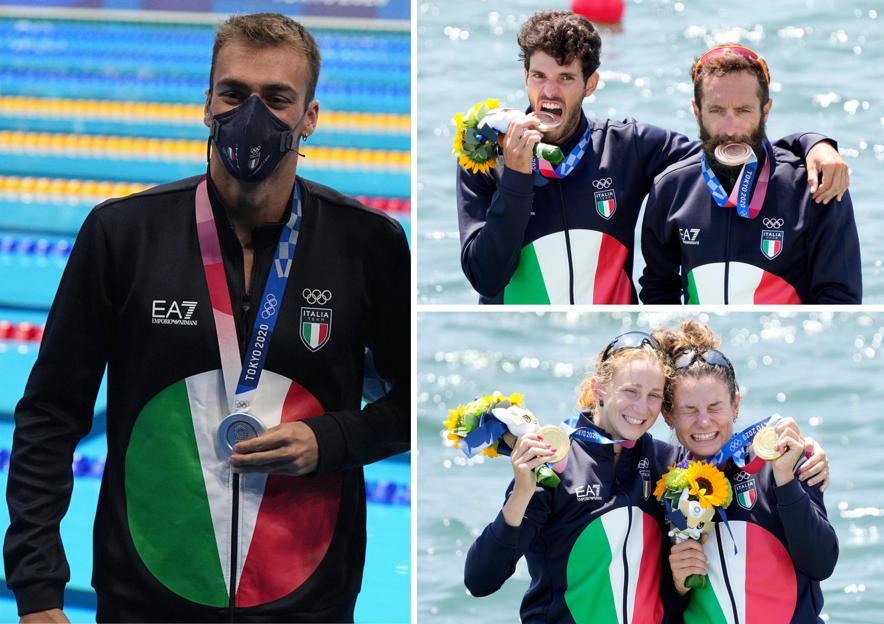In una combo i medagliati azzurri del 29 luglio alle Olimpiadi di Tokyo 2020: a sinistra in verticale Gregorio Paltrinieri, a destra in alto Stefano Oppo e Pietro Ruta, in basso Valentina Rodini e Federica Cesarini (ANSA)