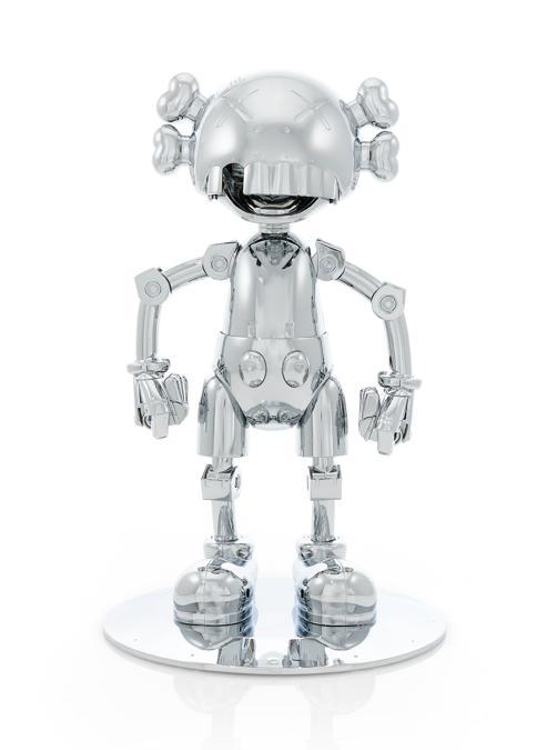 KAWS  - No Future Companion-Hajime Sorayama Version (Silver Chrome) - (con la firma dell'artista timbrata sotto la base e numerato 044/500 - multiplo in argento cromato, con scatola originale - Eseguito nel 2008, prodotto da Medicom Toy e OriginalFake, Tokyo con i loro timbri sotto la base) - est. €8-12.000 - Venduto a 11.340 euro