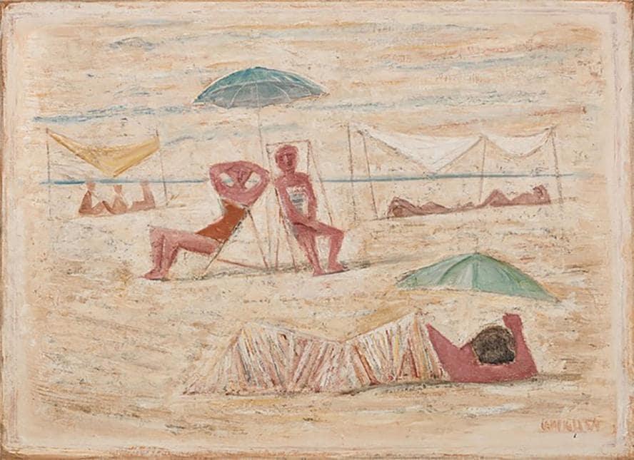 Spiaggia / Donne sulla spiaggia di Massimo Campigli del 1954