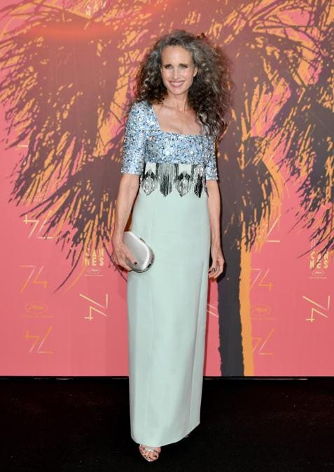 Andie MacDowell in PRADA (Photo by Dominique Charriau/WireImage)