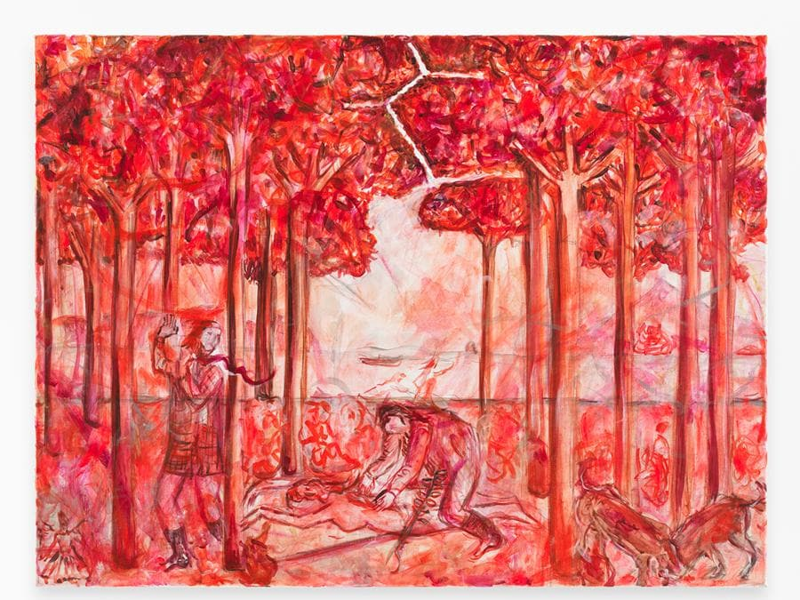 Jutta Koether - Leibhaftige Malerei (red version), 2007 - Olio su tela - 60 x 80 cm - Courtesy Bill Cournoyer / The Meeting, New York