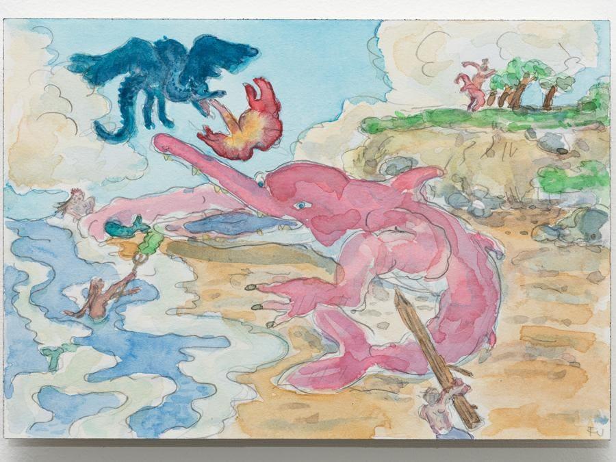Flaminia Veronesi - Batreca arrabbiata, 2020 - Matita e acquarello su carta - 26x18 cm - Courtesy CASTIGLIONI