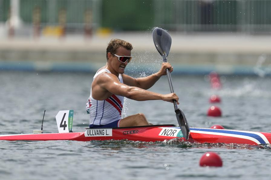 Lars Magne Ullvang of Norway competes in the men's kayak single 1000m quarterfinal during the 2020 Summer Olympics, Monday, Aug. 2, 2021, in Tokyo, Japan. (AP Photo/Lee Jin-man)
