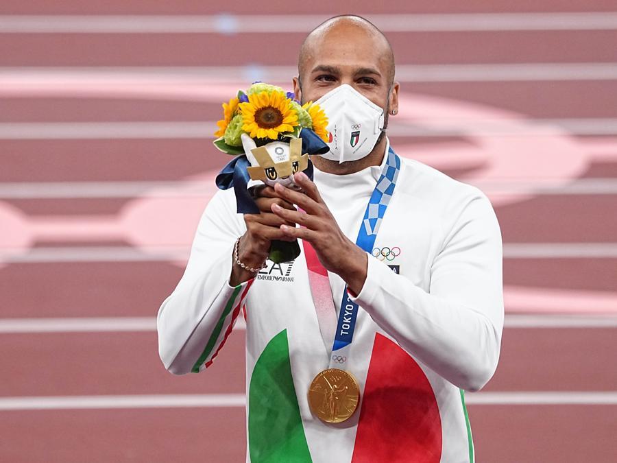 Olimpiadi di Tokyo 2020 - Atletica leggera - Cerimonia di consegna della medaglia d'oro a Marcell Jacobs vincitore dei 100 m piani (foto IPP)