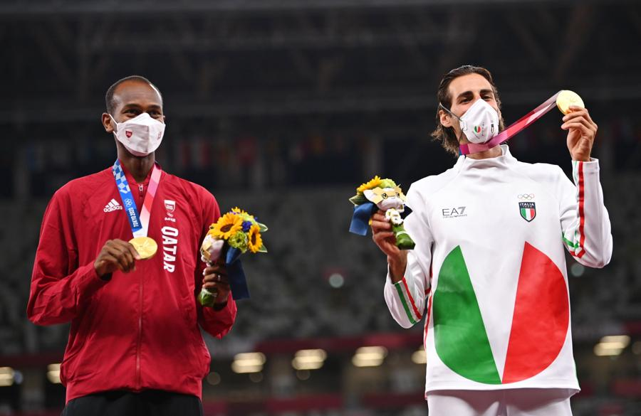Oro a pari merito: l'italiano Gianmarco Tamberi e Mutaz Essa Barshim dal Qatar (REUTERS/Dylan Martinez)