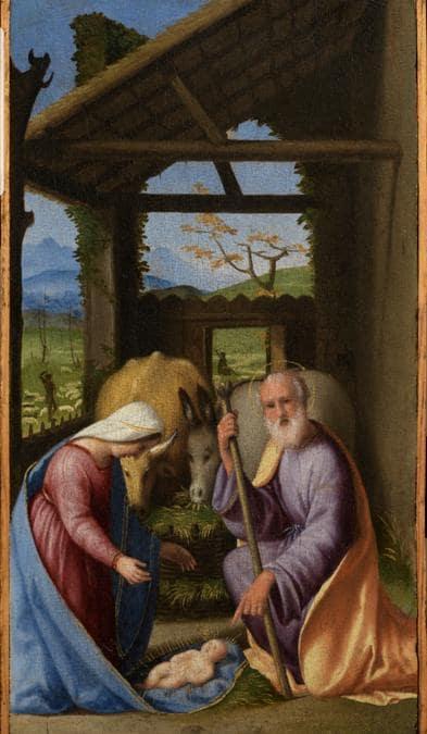 Andrea Previtali, Natività, 1525-1528, olio su tavola, 37x21 cm, in vendita alla Galleria Salamon di Milano per 145.000 euro