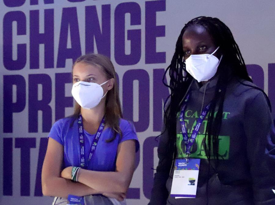 Greta Thunberg con Vanessa Nakate  (foto Ipp/Clemente Marmorino)