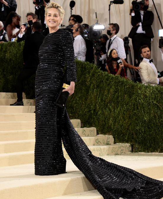 Sharon Stone in Thom Browne  (Photo by Dimitrios Kambouris / Getty images North America   / Getty Images via AFP)