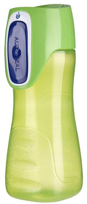 Contigo, si preme il pulsante per bere, con un tappo di assoluta sicurezza anche in condizioni ambientali e di movimento critiche