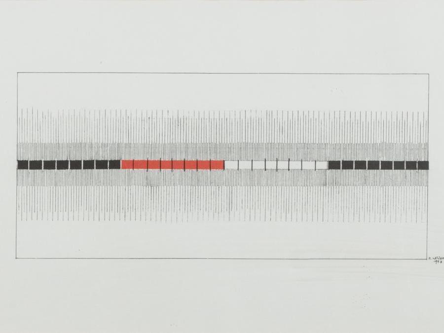 Finarte di Bice Lazzari, «Composizione» del 1968, tecnica mista su carta, aggiudicata per 10mila euro contro una stima di 1.000-1.500 euro