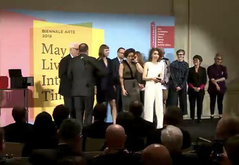 Cerimonia di premiazione della 58. Esposizione Internazionale d'Arte della Biennale di Venezia, 11 maggio 2019. Giuria composta da Stephanie Rosenthal (Presidente di Giuria, Germania), Defne Ayas (Turchia/Olanda), Cristiana Collu (Italia), Sunjung Kim (Corea) e Hamza Walker (USA).