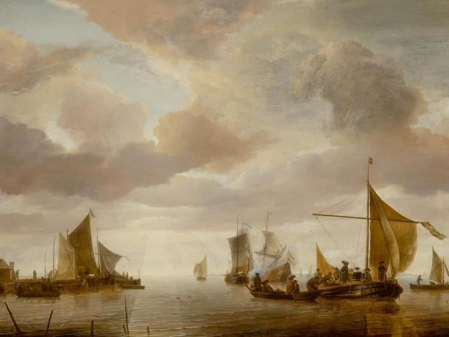 Jan van de Cappelle. A Shipping Scene on a Calm Sea, with a Number of Vessels and Figures, and a Jetty on the Left. signed with monogram lower right, on boat: IVC, oil on panel. 24 1/2 by 32 3/4 in.; 62.2 by 83.2 cm. Estimate $4/6 million. Sold for $4,815,000