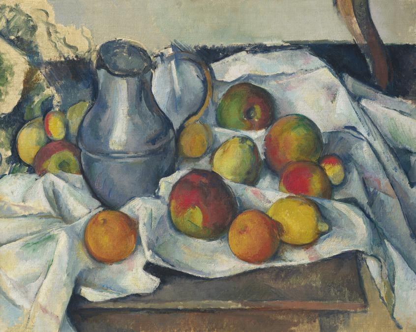 Paul Cézanne (1839-1906), Bouilloire et fruits, oil on canvas, painted circa 1888-1890