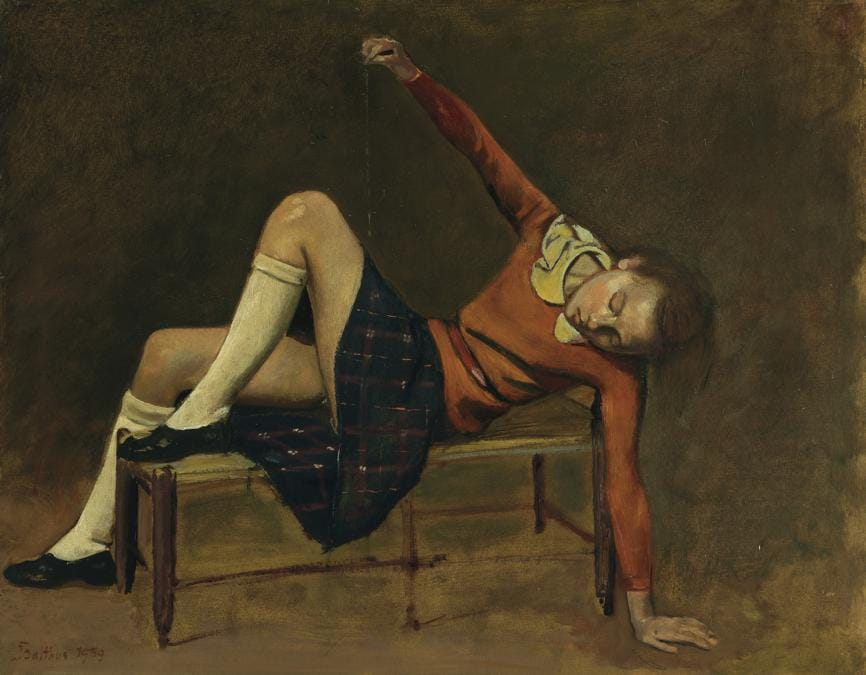 Balthus (1908-2001), Thérèse sur une banquette, oil on board, painted in 1939 WORLD AUCTION RECORD