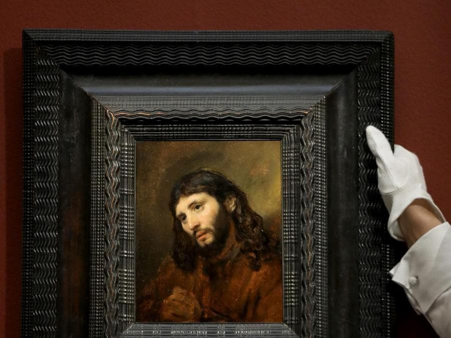 Rembrandt Harmensz. van Rijn, Study of the Head and Clasped Hands of a Young Man as Christ in Prayer, oil on oak panel, (est. £6,000,000-8,000,000)