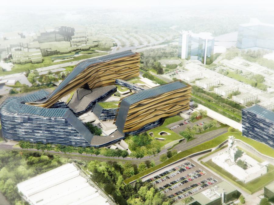 Nuova sede Eni in costruzione a San Donato Milanese, facciate di Bodino su progetto di Morphosis e Nemesi
