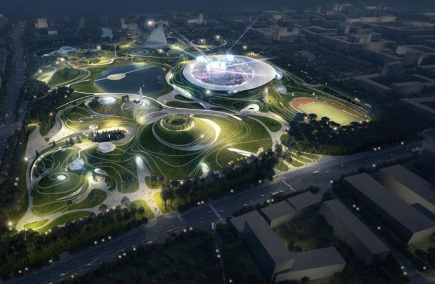 Quzhou Sport Center campus in costruzione in Cina, Mad Architects