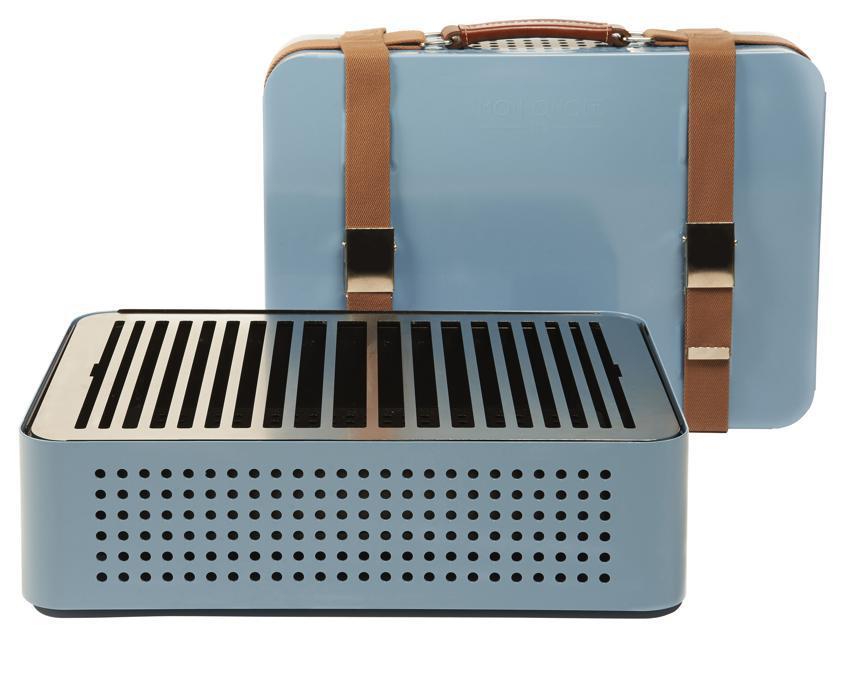 Mon Oncle di RS Barcelona, in vendita su Made in Design, una valigia disponibile in tinte pastello che si trasforma in un pratico barbecue trasportabile.