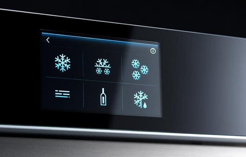 Irinox, Freddy, il display dell'abbattitore multifunzione da incasso consente di passare facilmente da una funzione all'altra; oltre ad abbattere rapidamente la temperatura di cibi cotti e caldi, l'apparecchio lievita, riscalda, rinfresca e congela. E' dotato di sonda e di un display touch intuitivo.